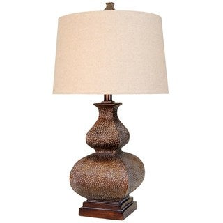 Transitional Golden White Wash Table Lamp