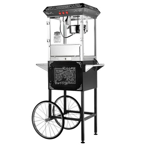 Great Northern Popcorn Black Old Time Popcorn Popper Machine with Cart 8 Oz