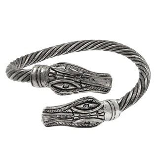 Luxiro Rhodium Finish Crystals Alligator Open Bangle Bracelet