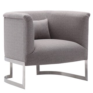 Armen Living Elite Accent Chair in Brushed Steel finish with Grey Fabric upholstery