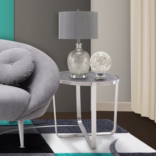 Armen Living Nova End Table in Brushed Stainless Steel with Grey Top