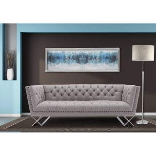 Armen Living Odyssey Sofa in Brushed Steel finish with Grey Tweed upholstery and Nail heads