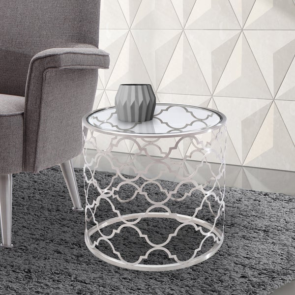 Armen Living Florence End Table In Brushed Silver Finish With Clear Gl Top
