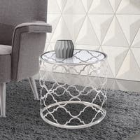 Armen Living Florence End Table in Brushed Silver finish with Clear Glass Top
