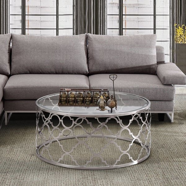 Shop Armen Living Florence Coffee Table In Brushed Silver