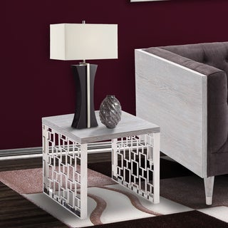 Armen Living Skyline Grey wash Wood End Table in Brushed Steel finish