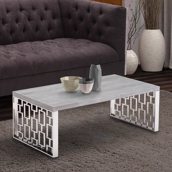 Armen living skyline grey wash wood coffee table in for Gray wood and metal coffee table
