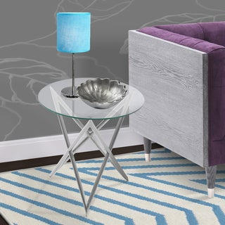 Armen Living Crest End Table in Brushed Steel finish with Clear Glass Top