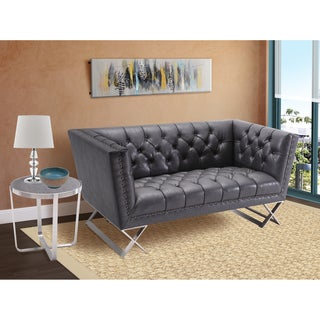 Armen Living Odyssey Loveseat in Brushed Steel finish with Vintage Black PU upholstery and Bronze Nail heads