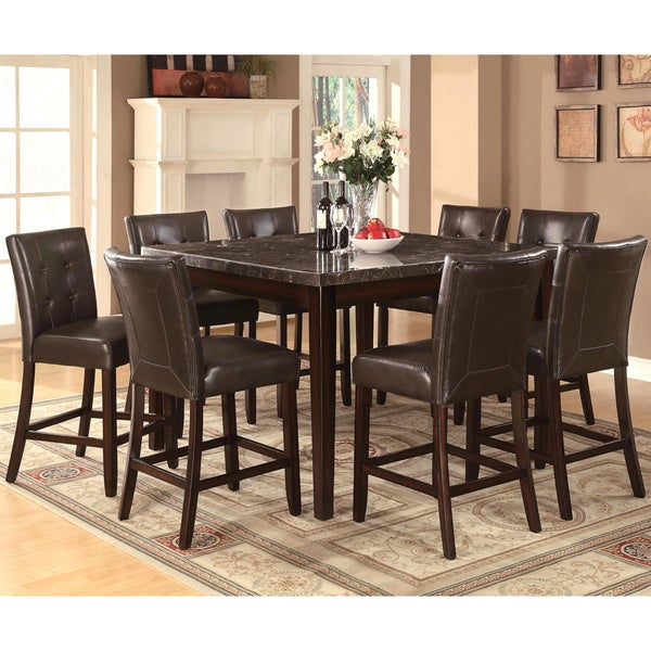 Camino Button Tufted Design Counter Height Dining Set With Marble Top
