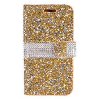 Insten Gold Leather Rhinestone Bling Phone Case Cover for LG K7