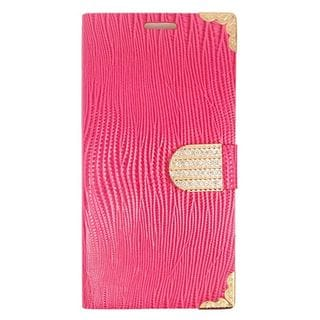 Insten Hot Pink/ Gold Leather Phone Case Cover with Wallet Flap Pouch/ Diamond/ Photo Display for LG G Stylo