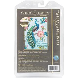 Gold Petite Blue Peacock Counted Cross Stitch Kit - 5 X7  18 Count