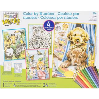 Pencil Works Color By Number Kit 9 X12  4/Pkg - Friendly Animals