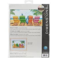 Beach Chairs Counted Cross Stitch Kit - 7 X14  14 Count