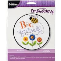 Bee Yourself Stamped Cross Stitch Kit - 8  Round