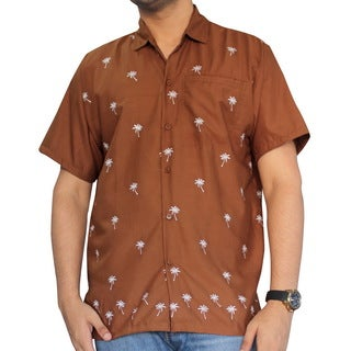 Men's Brown Smooth White Palm Tree Beach Casual Shirt
