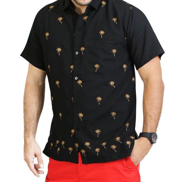 Shop Men S Small Embroidered Brown Casual Palm Tree Button
