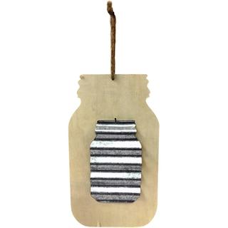 Unfinished Wood Shape W/Corrugated Metal - Mason Jar