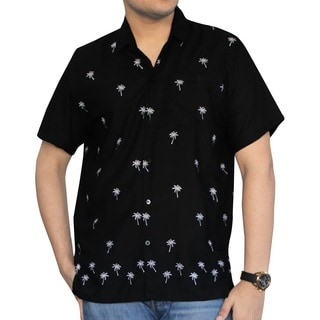 Men's Black Smooth Rayon White Palm Tree Button-down Shirt