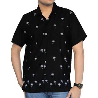 Men's Black Smooth Rayon White Palm Tree Button-down Shirt