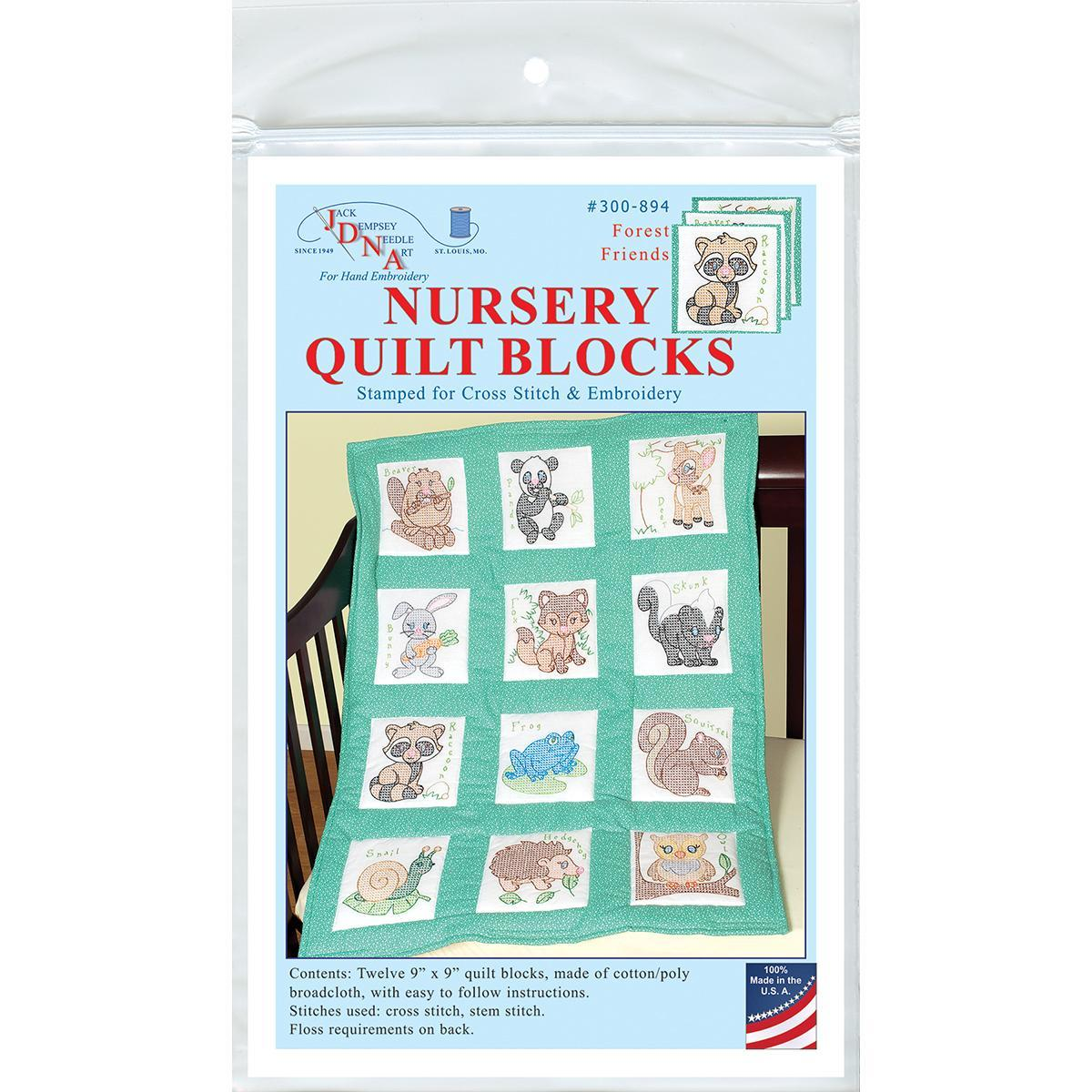 Jack Dempsey Stamped White Nursery Quilt Blocks 9 X9 12/P...