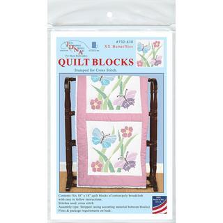 Stamped White Quilt Blocks 18 X18 6/Pkg - XX Butterflies