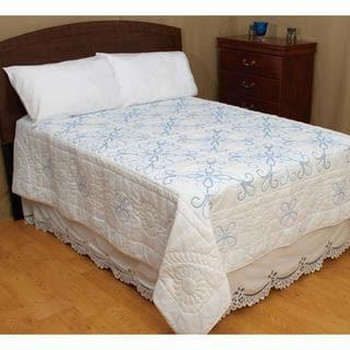 Stamped White Quilt Top  - XX Design