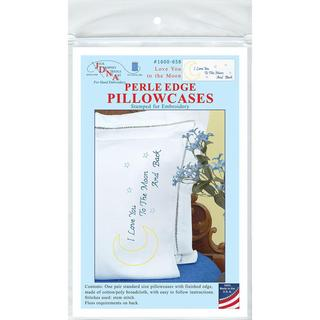 Stamped Pillowcases W/White Perle Edge 2/Pkg - Love You To The Moon
