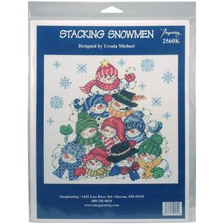 Stacking Snowmen On Linen Counted Cross Stitch Kit - 10.5 X10.5 28 Count