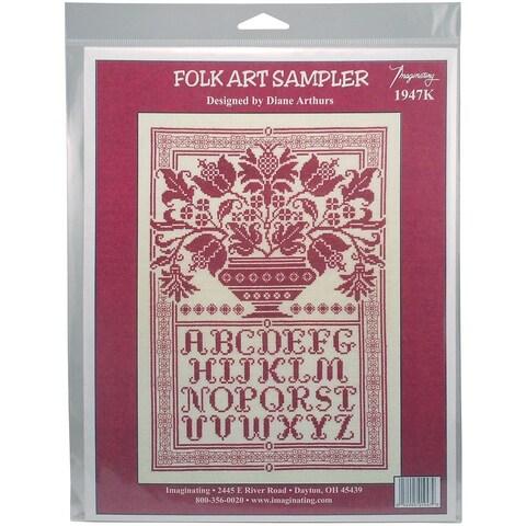 Folk Art Sampler Counted Cross Stitch Kit - 10 X14.75 14 Count
