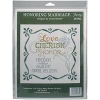 Honoring Marriage Wedding Record Counted Cross Stitch Kit - 9.5 X9.5  14 Count