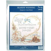 Seaside Wedding Wedding Record Counted Cross Stitch Kit - 7.5 X8  14 Count