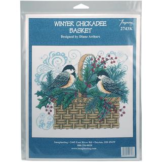 Winter Chickadee Basket Counted Cross Stitch Kit - 11 X9.25 14 Count