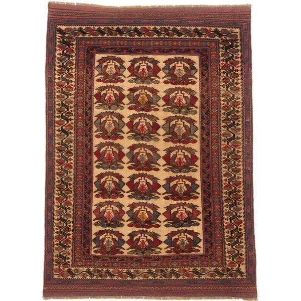 Ecarpetgallery Hand-knotted Tajik Tribal Red and Yellow Wool Rug - 6'5 x 9'1
