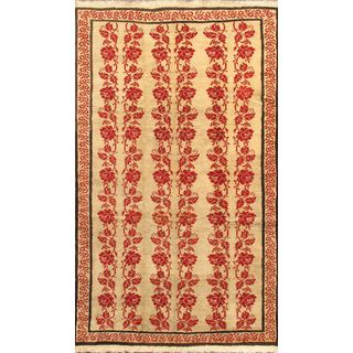Ecarpetgallery Hand-knotted Keisari Beige and Multi and Red Wool Rug (5'2 x 8'10)