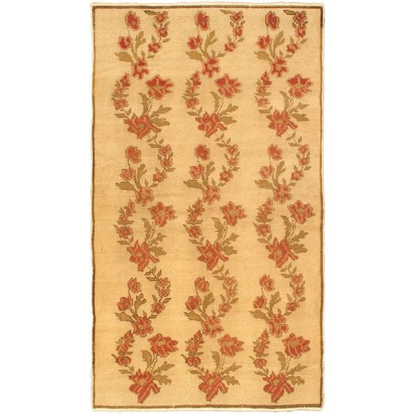 Ecarpetgallery Hand-knotted Melis Beige and Multi and Red Wool Rug (5'2 x 9'1)