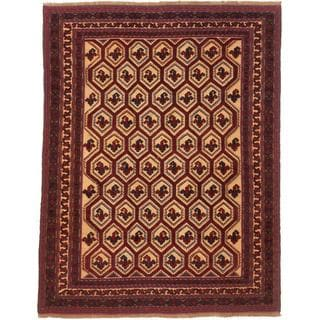 Ecarpetgallery Hand-knotted Tajik Tribal Beige and Red Wool Rug (6'10 x 8'9)