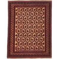 Ecarpetgallery Hand-knotted Tajik Tribal Beige and Red Wool Rug (6'10 x 8'9)