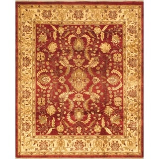 Ecarpetgallery Hand-knotted Chobi Finest Beige and Red Wool Rug (8' x 9'8)
