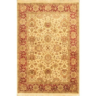 Ecarpetgallery Hand-knotted Sultanabad Beige and Multi and Red Wool Rug (6'1 x 9'3)