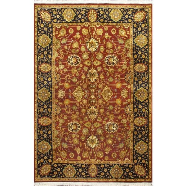 Ecarpetgallery Hand-knotted Double Knot Blue and Multi and Red Wool Rug (6'1 x 9'3)