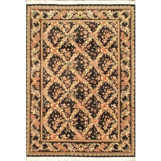 Ecarpetgallery Hand-knotted Double Knot Black Wool Rug (6'3 x 8'8)