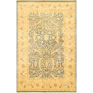 Ecarpetgallery Hand-knotted Pako Persian Blue and Yellow Wool Rug (6'1 x 9'4)