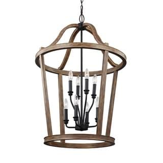 Feiss Lorenz 8 Lights Weathered Oak Wood Chandelier