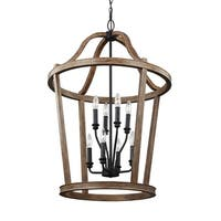 Feiss Lorenz 8 Lights Weathered Oak Wood Chandelier