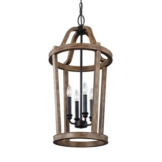 Feiss Lorenz 4 Lights Weathered Oak Wood Pendant