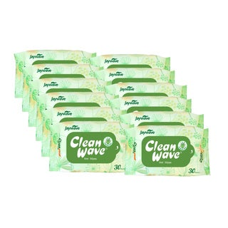 Clean Wave Alcohol Free 30 Count Wet Tissue (Pack of 12)