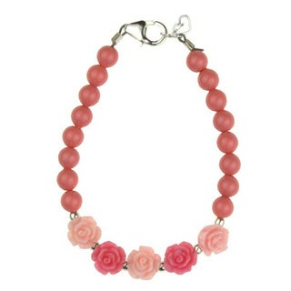 Flower Girl Pink and Rose Flowers and Coral Pearl Baby Bracelet