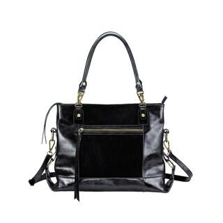 Leather Shoulder Bag with Front Zip Pocket